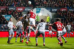 Scott McTominay and Zlatan Ibrahimovic of Manchester United compete with Aden Flint of Bristol City - Rogan/JMP - 20/12/2017 - Ashton Gate Stadium - Bristol, England - Bristol City v Manchester United - Carabao Cup Quarter Final.