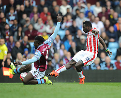Mame Biram Diouf of Stoke City shoots at goal but is blocked by Micah Richards of Aston Villa - Mandatory byline: Alex James/JMP - 07966 386802 - 03/10/2015 - FOOTBALL - Villa Park - Birmingham, England - Aston Villa v Stoke City - Barclays Premier League