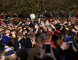 The competitors in the hug try to catch the ball - Mandatory byline: Robbie Stephenson/JMP - 09/02/2016 - FOOTBALL -  - Ashbourne, England - Up'Ards v Down'Ards - Royal Shrovetide Football