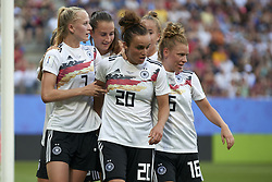June 29, 2019 - Rennes, France - Lina Magull (FC Bayern Munchen) of Germany celebrates goal with her teammates during the 2019 FIFA Women's World Cup France Quarter Final match between Germany and Sweden at Roazhon Park on June 29, 2019 in Rennes, France. (Credit Image: © Jose Breton/NurPhoto via ZUMA Press)