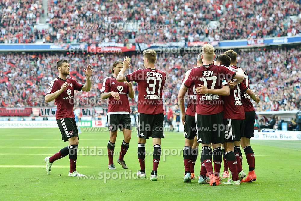 17.05.2015, Allianz Arena, Muenchen, GER, 2. FBL, 1860 Muenchen vs 1. FC Nuernberg, 33. Runde, im Bild Torjubel FC Nuernberg, // during the 2nd German Bundesliga 33th round match between 1860 Muenchen and 1. FC Nuernberg at the Allianz Arena in Muenchen, Germany on 2015/05/17. EXPA Pictures &copy; 2015, PhotoCredit: EXPA/ Eibner-Pressefoto/ Buthmann<br /> <br /> *****ATTENTION - OUT of GER*****