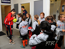 Mascots visit the changing room prior to kick-off - Mandatory by-line: Nizaam Jones/JMP - 28/04/2019 - FOOTBALL - Stoke Gifford Stadium - Bristol, England - Bristol City Women v West Ham United Women - FA Women's Super League 1