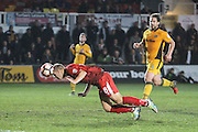 Adam Priestley of Alfreton Townscores his teams first goal during the The FA Cup match between Newport County and Alfreton Town at Rodney Parade, Newport, Wales on 15 November 2016. Photo by Andrew Lewis.