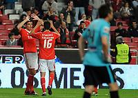 20120316: LISBON, PORTUGAL - Liga Zon Sagres 2011/2012: SL Benfica vs Beira-Mar. In picture: Oscar Cardozo e Nelson Oliveira. <br /> PHOTO: Alvaro Isidoro/CITYFILES