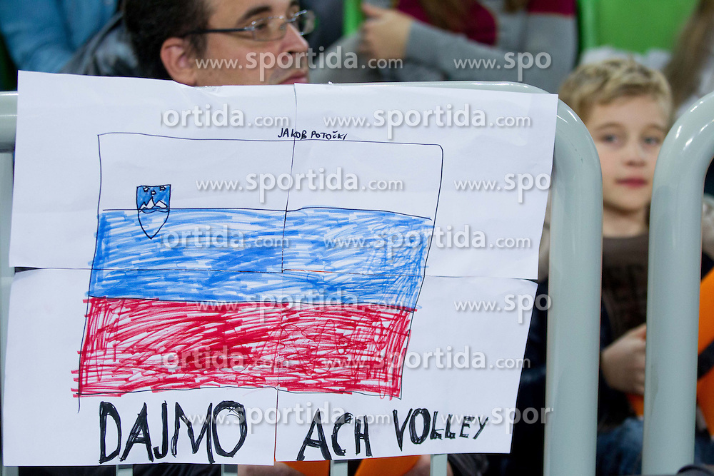 Fans of ACH during volleyball match between ACH Volley and Lube Banca Marche Macerata (ITA) in 5th Leg of Pool D of 2013 CEV Champions League on December 5, 2012 in Arena Stozice, Ljubljana, Slovenia. ACH defeated Macerata 3-1. (Photo By Vid Ponikvar / Sportida)