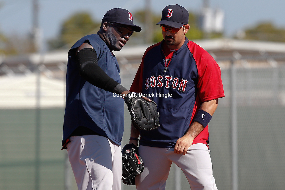 February 19, 2011; Fort Myers, FL, USA; Boston Red Sox first baseman David Ortiz and Boston Red Sox first baseman Adrian Gonzalez during spring training at the Player Development Complex.  Mandatory Credit: Derick E. Hingle