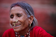 Nepalese woman wearing traditional jewellery, Durbar Square, Kathmandu, Nepal