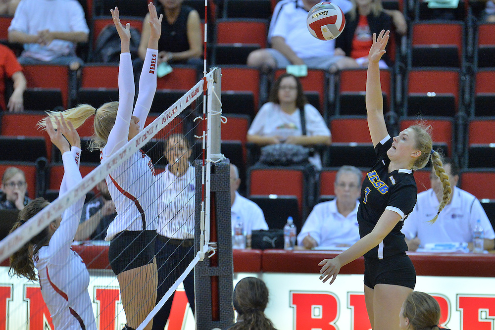 August 26, 2016; Las Vegas, Nev.; UC Santa Barbara outside hitter Megan Rice (7) takes a swing during a match between the UNLV Lady Rebels and UC Santa Barbara Gauchos. UNLV defeated UCSB 3-0.