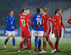 CESENA, ITALY - Tuesday, January 22, 2019: Wales' Jessica Fishlock and Cori Williams after the International Friendly between Italy and Wales at the Stadio Dino Manuzzi. Italy won 2-0. (Pic by David Rawcliffe/Propaganda)