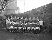 Irish Rugby Football Union, Ireland v England, Five Nations, Landsdowne Road, Dublin, Ireland, Saturday 12th February, 1955,.12.2.1955, 2.12.1955,..Referee- Mr A I Dickie, Scottish Rugby Union,..Score- Ireland 6 - 6 England, ..Irish Team,..W R Tector, Wearing number 15 Irish jersey, Full Back, Wanderers Rugby Football Club, Dublin, Ireland, ..A C Pedlow, Wearing number 14 Irish jersey, Right wing, Queens University Rugby Football Club, Belfast, Northern Ireland,..N J Henderson, Wearing number 13 Irish jersey, Right centre, N.I.F.C, Rugby Football Club, Belfast, Northern Ireland,..A J O'Reilly, Wearing number 12 Irish jersey, Left Centre, Old Belvedere Rugby Football Club, Dublin, Ireland,..J T Gaston, Wearing number 11 Irish jersey, Left wing, Dublin University Rugby Football Club, Dublin, Ireland, ..J W Kyle, Wearing number 10 Irish jersey, Outside Half, N.I.F.C, Rugby Football Club, Belfast, Northern Ireland,..J A O'Meara, Wearing number 9 Irish jersey, Scrum, Dolphin Rugby Football Club, Cork, Ireland, ..F E Anderson, Wearing number 1 Irish jersey, Forward, N.I.F.C, Rugby Football Club, Belfast, Northern Ireland,..R Roe, Wearing number 2 Irish jersey, Forward,  Landsdowne Rugby Football Club, Dublin, Ireland, ..P J O'Donoghue, Wearing  Number 3 Irish jersey, Forward, Bective Rangers Rugby Football Club, Dublin, Ireland,  ..M N Madden, Wearing number 4 Irish jersey, Forward, Sundays Well Rugby Football Club, Cork, Ireland,..T E Reid, Wearing number 5 Irish jersey, Forward, Garryowen Rugby Football Club, Limerick, Ireland, and, London Irish Rugby Football Club, Surrey, England, ..M J Cunningham,  Wearing number 6 Irish jersey, Forward, University college Cork Rugby Football Club, Cork, Ireland,  ..J R Kavanagh, Wearing number 7 Irish jersey, Forward, Wanderers Rugby Football Club, Dublin, Ireland, ..J S McCarthy, Wearing number 8 Irish jersey, Captain of the Irish team, Forward, Dolphin Rugby Football Club, Cork, Ireland, .