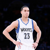 10 April 2014: Minnesota Timberwolves guard Kevin Martin (23) rests during the Los Angeles Lakers 106-98 victory over the Minnesota Timberwolves, at the Staples Center, Los Angeles, California, USA.