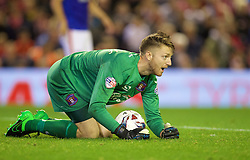 LIVERPOOL, ENGLAND - Wednesday, September 23, 2015: Carlisle United's goalkeeper Mark Gillespie in action during the Football League Cup 3rd Round match at Anfield. (Pic by David Rawcliffe/Propaganda)