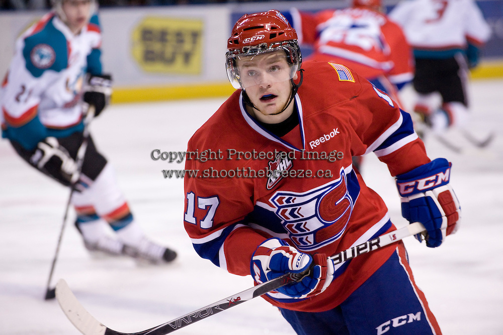 KELOWNA, CANADA, DECEMBER 27: Mitch Holmberg #17 of the Spokane Chiefs skates on the ice at the Kelowna Rockets on December 7, 2011 at Prospera Place in Kelowna, British Columbia, Canada (Photo by Marissa Baecker/Getty Images) *** Local Caption ***