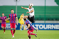 (UP) Legia's Ivica Vrdoljak fights for the ball with (DOWN) Steaua's Iasmin Latovlevici during the UEFA Champions League play-off second leg match between Legia Warsaw and FC Steaua Bucuresti at Pepsi Arena Stadium in Warsaw on August 27, 2013.<br /> <br /> Poland, Warsaw, August 27, 2013<br /> <br /> Picture also available in RAW (NEF) or TIFF format on special request.<br /> <br /> For editorial use only. Any commercial or promotional use requires permission.<br /> <br /> Photo by © Adam Nurkiewicz / Mediasport
