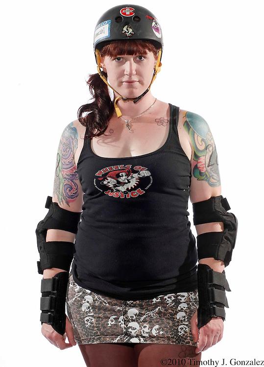 "Jennifer ""Jennicidal Tendencies #28"" Girtman, Thrill Kill Kittens. Cherry City Derby Girls. Photographed on Tuesday, July 6, 2010."
