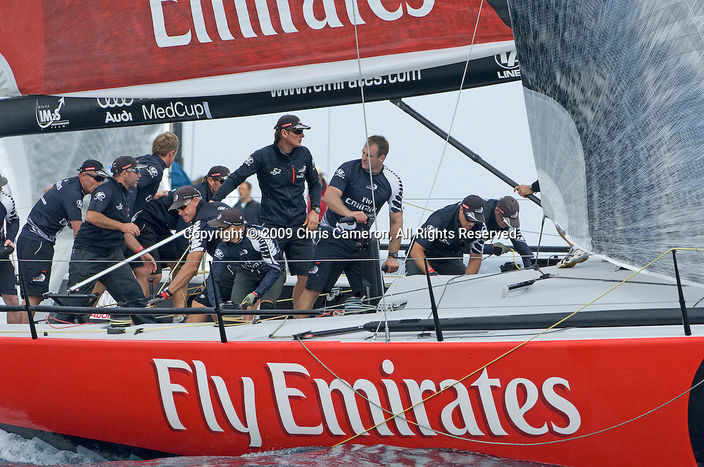 Emirates Team New Zealand NZL380 round the left side of the gate at the bottom mark in the second race on day one of the Trofeo Ciudad de Alicante regatta of the MedCup circuit. The first race was canceled as the wind died away during the second leg. 13/5/2009