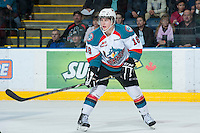 KELOWNA, CANADA - JANUARY 16: Cody Fowlie #18 of the Kelowna Rockets looks for the pass against the Spokane Chiefs at the Kelowna Rockets on January 16, 2013 at Prospera Place in Kelowna, British Columbia, Canada (Photo by Marissa Baecker/Shoot the Breeze) *** Local Caption ***