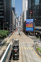 Tramway in Des Voeux road, Central, Hong Kong.