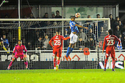 Mikael Mandron (19) of Eastleigh gets his head to a cross to score the opening goal to give the home team a 1-0 lead during the The FA Cup match between Eastleigh and Swindon Town at Arena Stadium, Eastleigh, United Kingdom on 4 November 2016. Photo by Graham Hunt.
