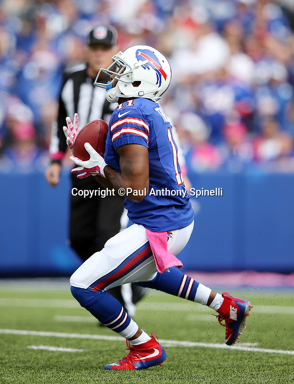 Buffalo Bills wide receiver Marcus Thigpen (11) catches a first quarter punt during the 2015 NFL week 4 regular season football game against the New York Giants on Sunday, Oct. 4, 2015 in Orchard Park, N.Y. The Giants won the game 24-10. (©Paul Anthony Spinelli)