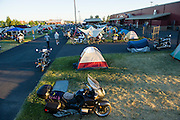 Motorcycle camping is quite common at an MOA rally, which is much more tame than a typical Harley Davidson rally.
