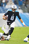 NASHVILLE, TN - NOVEMBER 29:  Marcus Mariota #8 of the Tennessee Titans runs the ball during a game against the Oakland Raiders at Nissan Stadium on November 29, 2015 in Nashville, Tennessee.  The Raiders defeated the Titans 24-21.  (Photo by Wesley Hitt/Getty Images) *** Local Caption *** Marcus Mariota