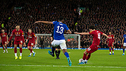 LIVERPOOL, ENGLAND - Sunday, January 5, 2020: Liverpool's Curtis Jones scores the winning goal, his first for the club, during the FA Cup 3rd Round match between Liverpool FC and Everton FC, the 235th Merseyside Derby, at Anfield. Liverpool won 1-0. (Pic by David Rawcliffe/Propaganda)