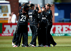 Lea Tahuhu of New Zealand Women celebrates taking the wicket of Lauren Winfield of England - Mandatory by-line: Robbie Stephenson/JMP - 12/07/2017 - CRICKET - The County Ground Derby - Derby, United Kingdom - England v New Zealand - ICC Women's World Cup match 21