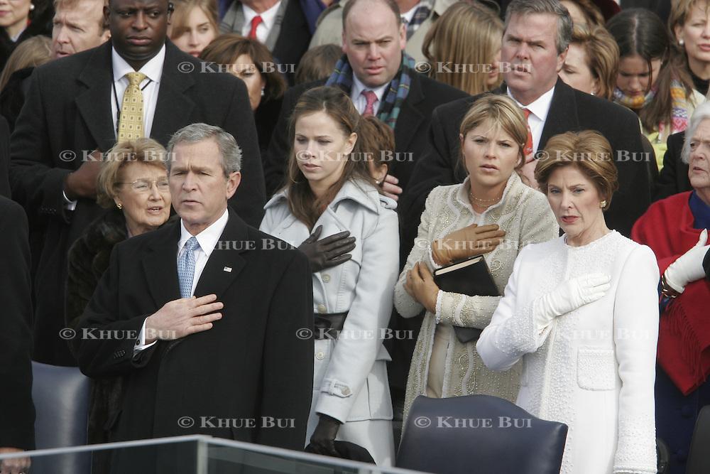 President Bush and the first familyafter his swearing-in Jan. 20, 2005, at the US Capitol in Washington, DC.  Barbara Bush, Jenna Bush, Larau Bush...Photo by Khue Bui..