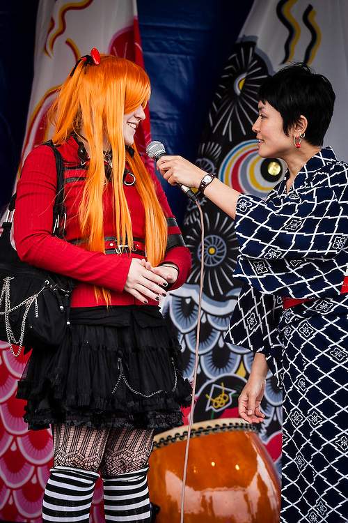 Portuguese cosplayer being interviewed during the Japan Festival 2012 in Lisbon