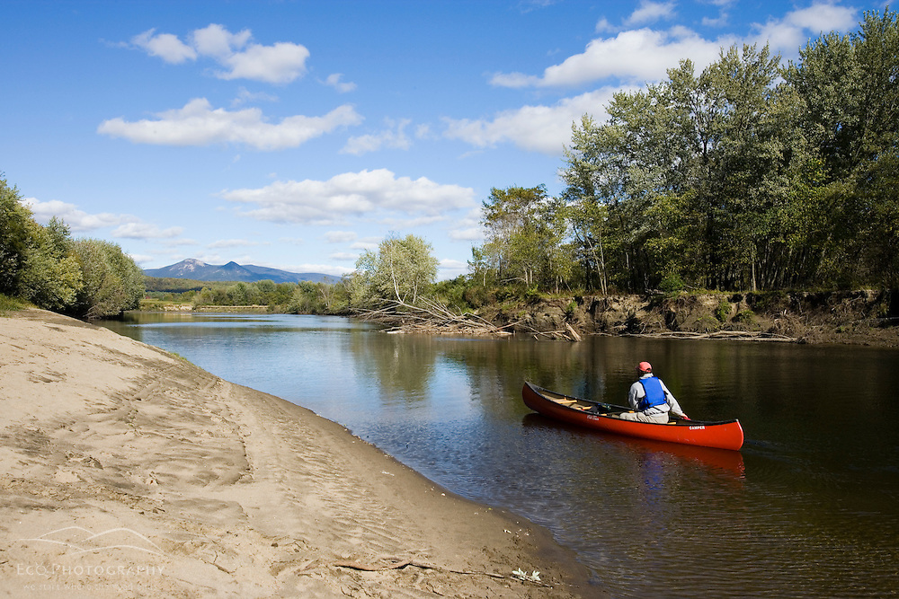 Paddling the Connecticut River ikn Stratford, New Hampshire.  Maidstone Bend section of the river.