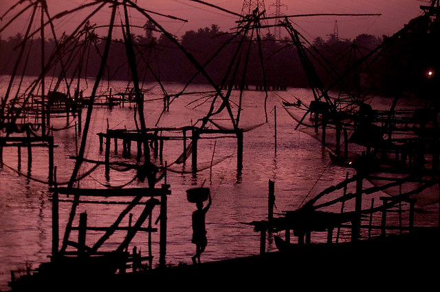 "13 Apr 2004, Kerala, India --- Dip nets, also called ""Chinese"" nets, on the shore in Kerala, in southern India. --- Image by © Owen Franken/Corbis"