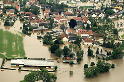 59754220<br /> Floods in Thuringia the River White Elster is above the Shore underfoot and has the city part flooded, Germany, June 3, 2013 .UK ONLY, June 3, 2013 .UK ONLY