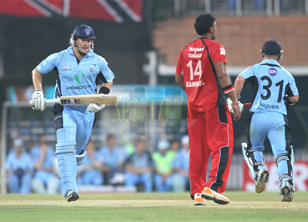 Shane Watson takes a run during match 8 of the NOKIA Champions League T20 ( CLT20 )between the NSW Blues and Trinidadand Tobago held at the M. A. Chidambaram Stadium in Chennai , Tamil Nadu, India on the 28th September 2011Photo by Prashant Bhoot/BCCI/SPORTZPICS