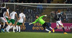 Hibernian's keeper Mark Oxley can't stop Falkirk's David McCracken scoring their goal.<br /> Falkirk 1 v 0 Hibernian, Scottish Championship game played 6/12/2014 at The Falkirk Stadium .