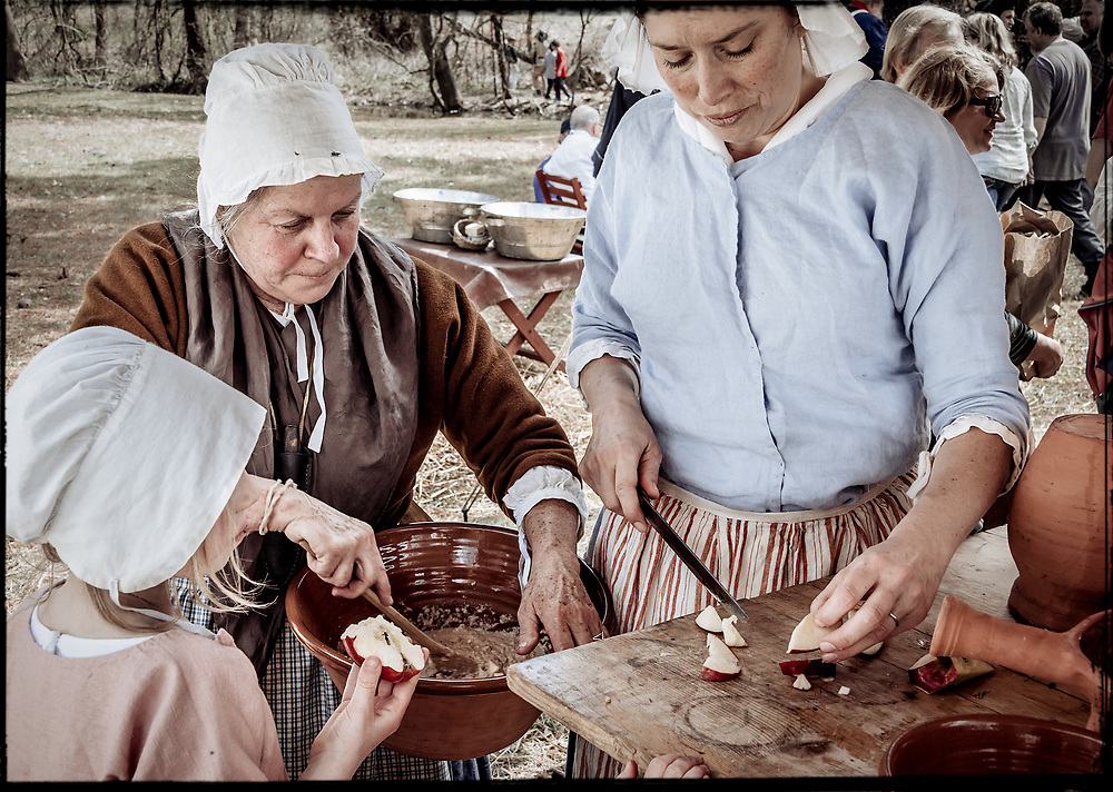 Ladies preparing an authentic 18th century meal at the 2017 Battle of Guilford Courthouse Reenactment.