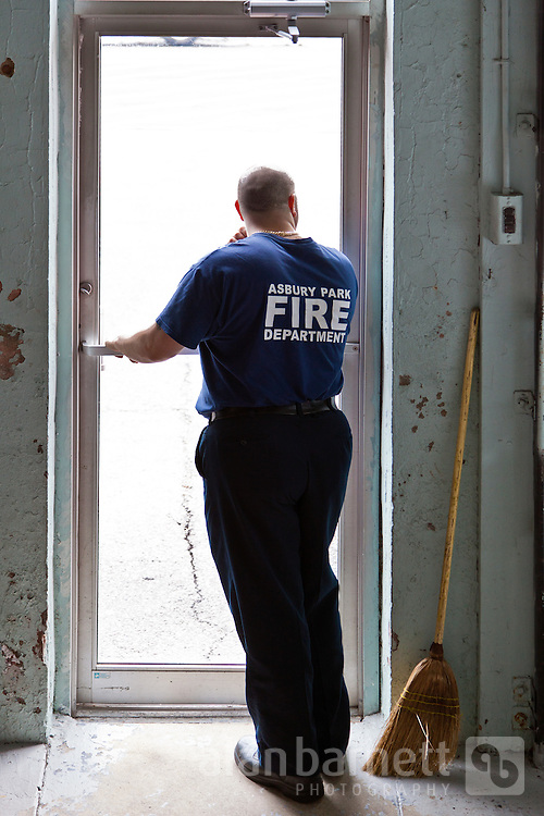 A contemplative moment between calls at the firehouse.