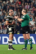 Referee Ben Thaler talks to Hull FC hooker Danny Houghton (9)  during the Betfred Super League match between Hull FC and Leeds Rhinos at Kingston Communications Stadium, Hull, United Kingdom on 19 April 2018. Picture by Mick Atkins.