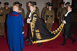 © Licensed to London News Pictures. 14/12/2016. Secretary of State for Justice and Lord Chancellor Liz Truss arrives for the annual Lord Mayor's Banquet at Guildhall. London, UK. Photo credit: Ray Tang/LNP