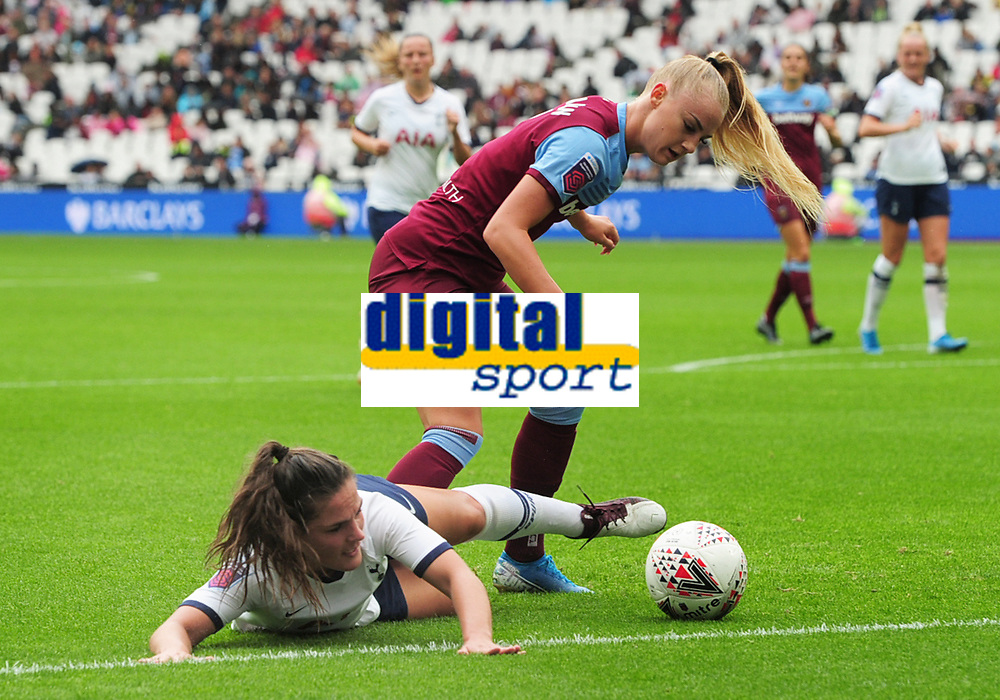 Football - 2019 / 2020 FA Women's Super League (WSL) - West Ham United vs. Tottenham Hotspur Women<br /> <br /> Alisha Lehmann of West ham challenges Siri Worm of Spurs, at The London Stadium.<br /> <br /> COLORSPORT/ANDREW COWIE