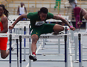 Norfolk State's Aramis Massenburg wins the first heat of the Men's 100 Meter Hurdles in 13.63 at the 2011 MEAC Track and Field Championship held at North Carolina A&T in Greensboro, North Carolina.  (Photo by Mark W. Sutton)