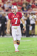 PALO ALTO, CA -  OCTOBER 22:  Brett Nottingham #7 of the Stanford Cardinal looks to the sidelines during a PAC 12 football game against the University of Washington played on October 22, 2011 at Stanford Stadium in Palo Alto, California. (Photo by David Madison/Getty Images) *** Local Caption *** Brett Nottingham