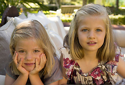 Christmas greetings from the royal house of Spain. HRH the Princess of Asturias Christmas card cover with a photo of her daughters the Princesses Leonor and Sofia, Madrid, Spain. December 14, 2012. Photo by Pool Casa Real / Casa S.M. El Rey /DYD Fotografos / i-Images...SPAIN OUT