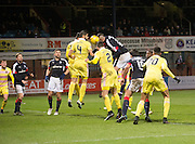 Dundee&rsquo;s Marcus Haber heads home the winner - Dundee v Hearts in the Ladbrokes Scottish Premiership at Dens Park, Dundee - Photo: David Young, <br /> <br />  - &copy; David Young - www.davidyoungphoto.co.uk - email: davidyoungphoto@gmail.com