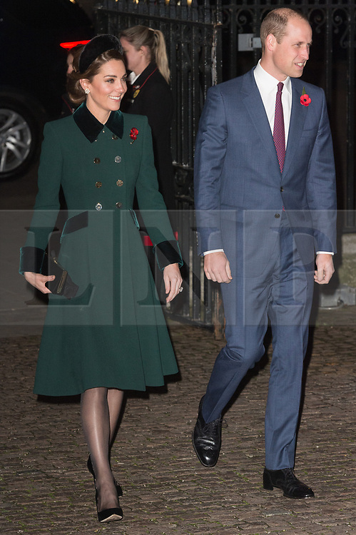 © Licensed to London News Pictures. 11/11/2018. London, UK. The Duchess of Cambridge and the Duke of Cambridge attends a Westminster Abbey Service to mark the Centenary of the Armistice ending World War I. Photo credit: Ray Tang/LNP