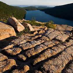 Glacial striations in the granite on South Bubble Mountain in Maine's Acadia National Park.  Jordan Pond is below.