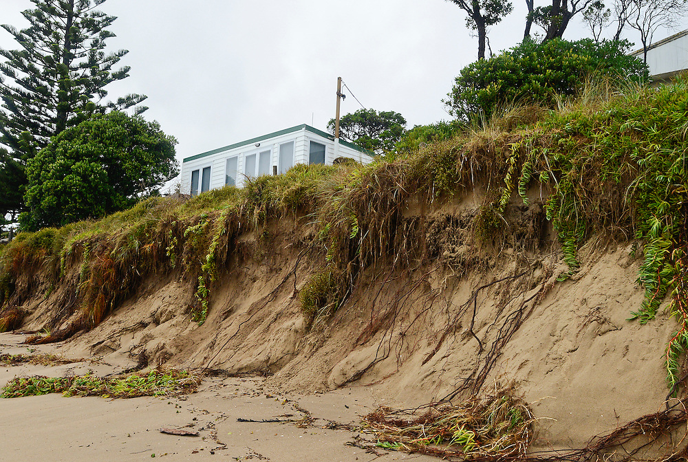 Coastal erosion caused by Cyclone Pam at Matapouri, near Whangarei, New Zealand, Monday March 16, 2015. Credit:SNPA / Malcolm Pullman
