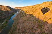 The shadow of a hot air balloon in the Rio Grand Gorge near Taos.