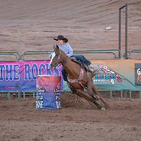 Riley Welch of Texas takes the first barrel in the Bets of the Best Rodeo completion at Red Rocks Park in Church Rock.