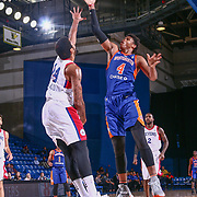 Westchester Knicks Forward ISAIAH HICKS (4) drives towards the basket as Delaware 87ers Forward JAMES MICHAEL MCADOO (14) defends in the first half of a NBA G-league regular season basketball game between the Delaware 87ers and the Westchester Knicks (New York Knicks) Tuesday, Nov. 07, 2017, at The Bob Carpenter Sports Convocation Center in Newark, DEL